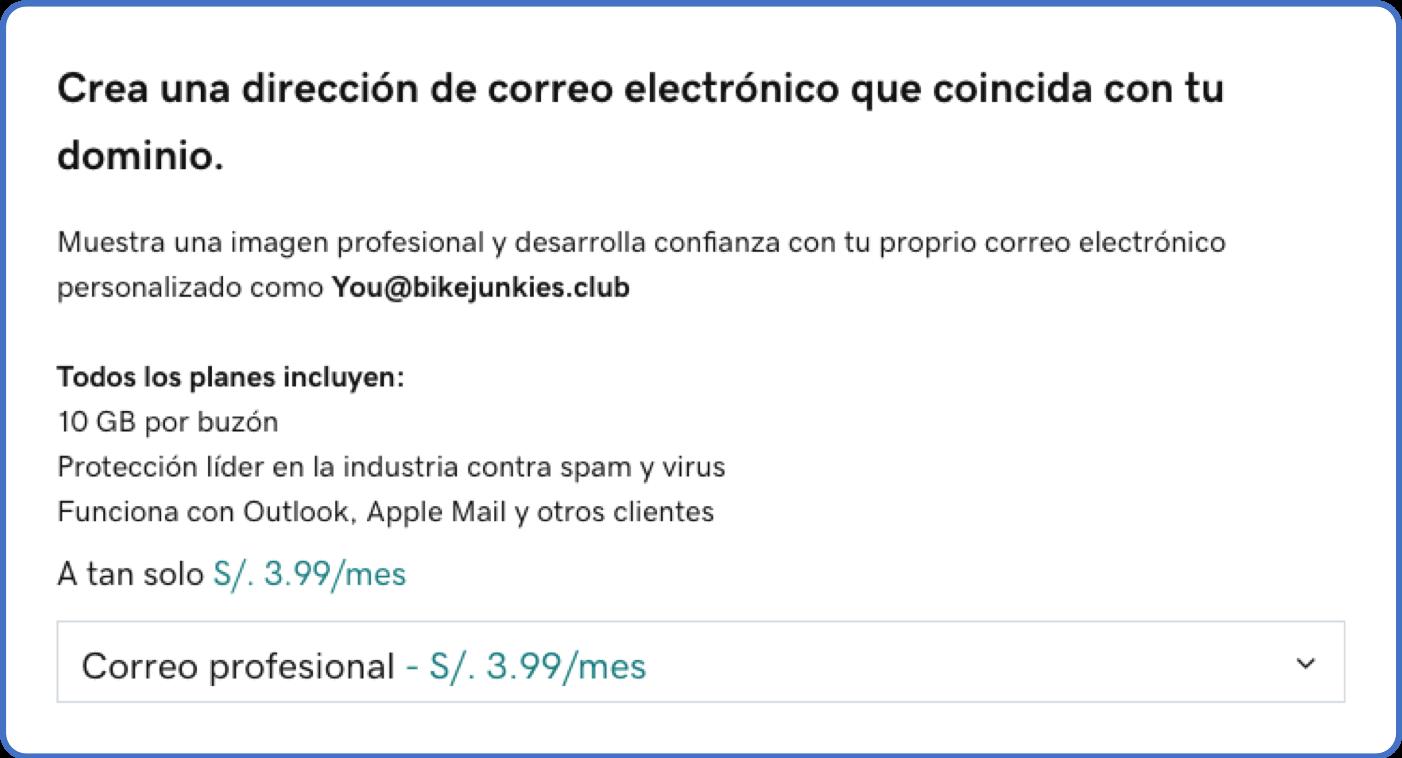 Precio dominio + correo corporativo en GoDaddy