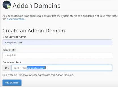 Crea una ruta para alojar tu sitio en tu hosting cPanel