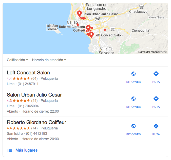 Google: ejemplo de cómo luce una búsqueda con resultados locales en Perú