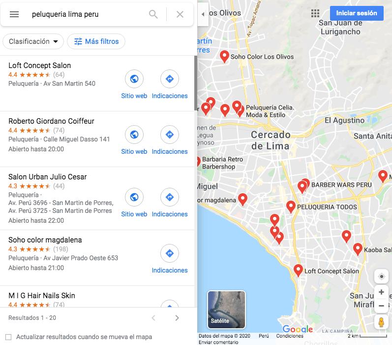 Google Maps: ejemplo de cómo luce una búsqueda con resultados locales