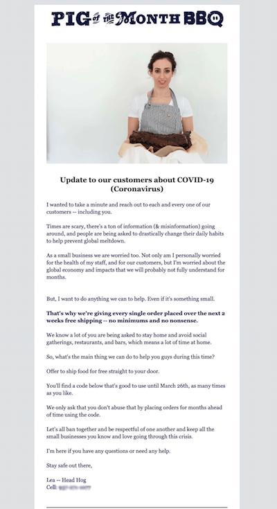 COVID-19: ejemplo de comunicación por email de la empresa Pig of Month