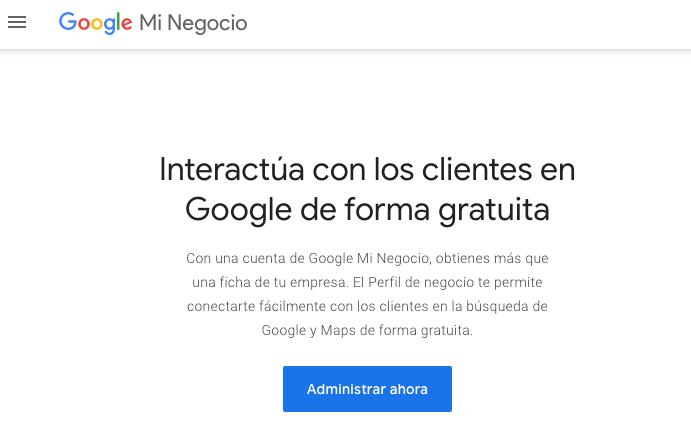 Inicia sesión en Google My Business para comenzar a tener presencia local en internet.