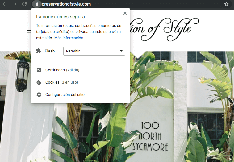 Ejemplo de sitio con certificado SSL: Preservation of Style