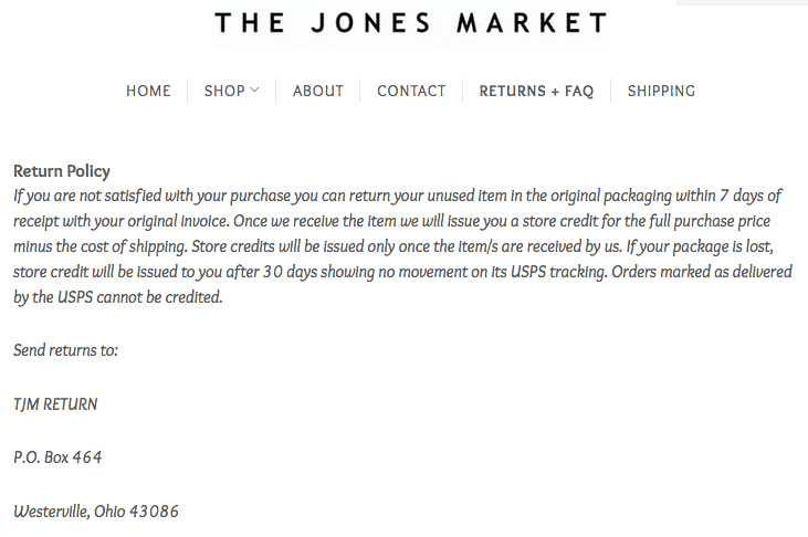 Ejemplo de sitio web seguro: The Jones Market]