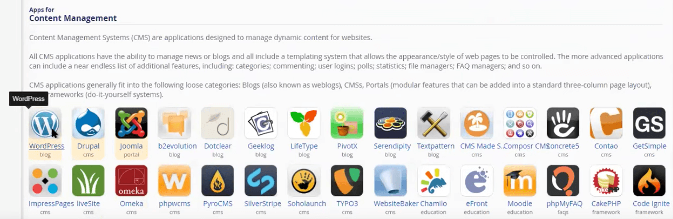 Con Installatron puedes instalar aplicaciones como WordPress