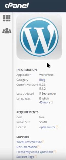 Información de aplicaciones en Installatron de cPanel
