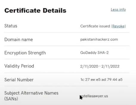 Detalles de certificado SSL con múltiples dominios.