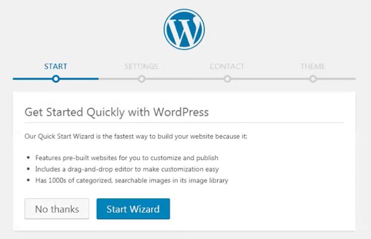 WordPress Quick Start Wizard te ayudará a seleccionar y personalizar el tema de tu página web