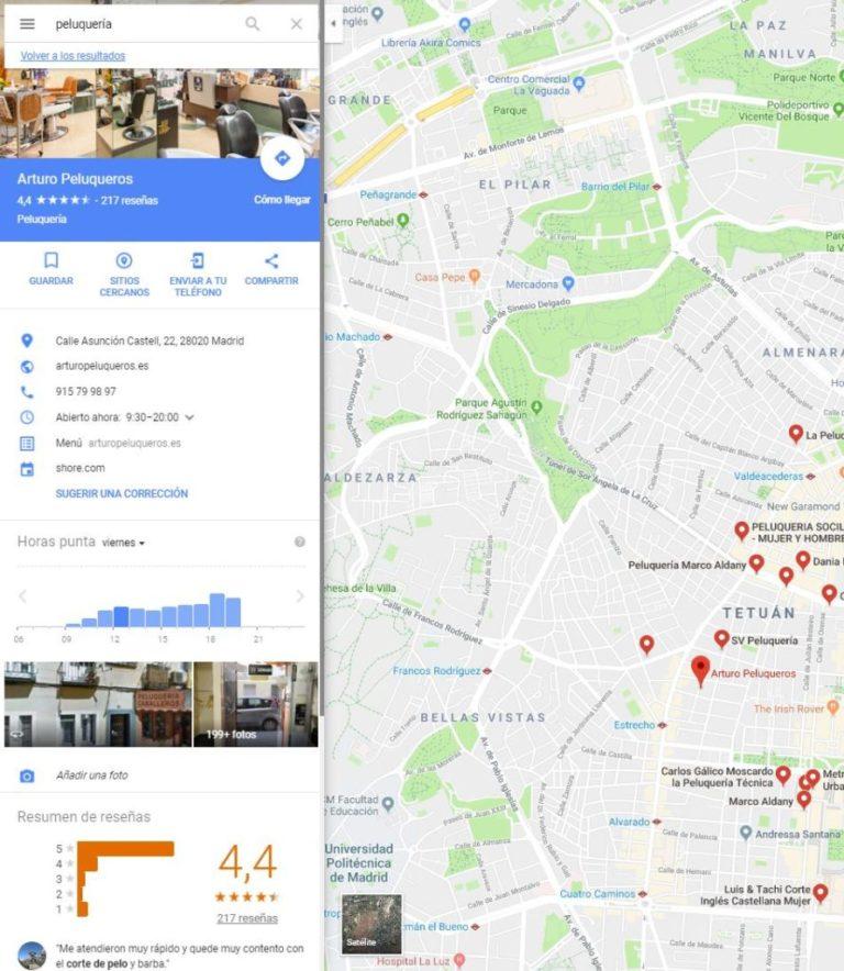 Peluqueria GoogleMaps