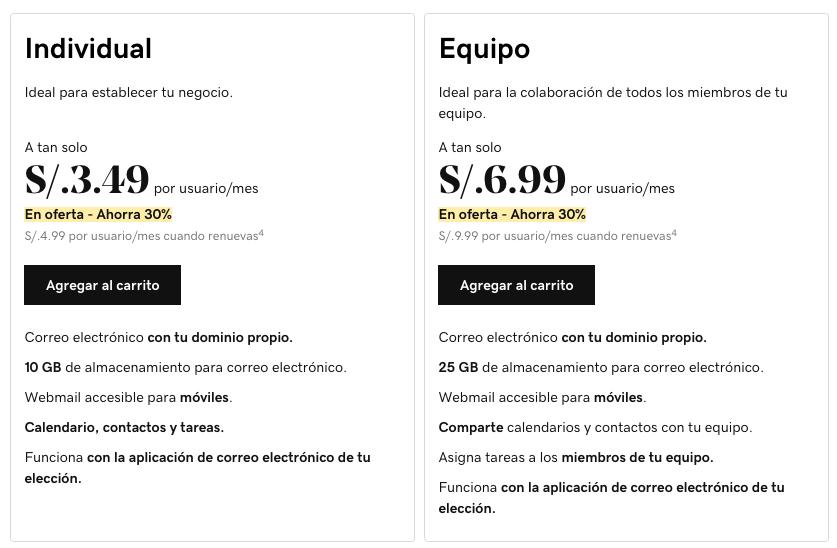 Planes de correo personalizado de GoDaddy Perú