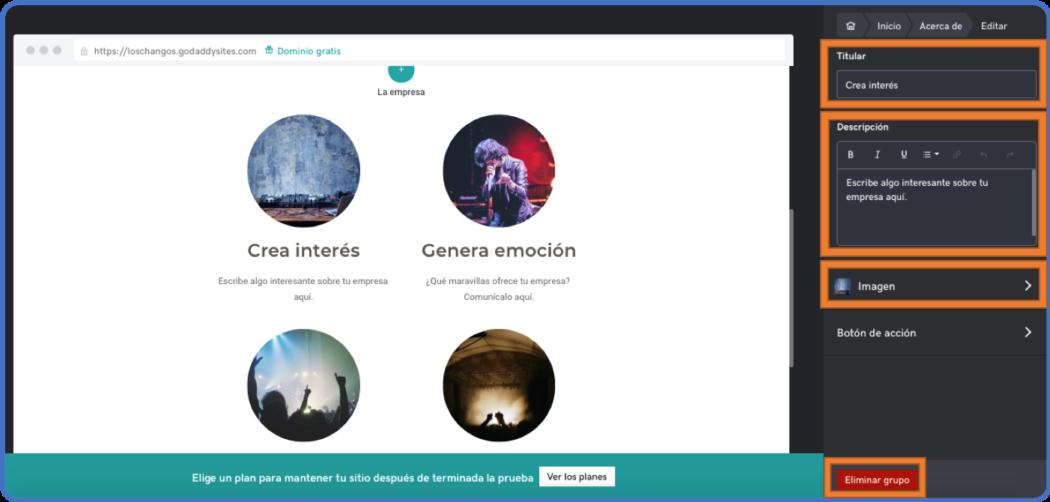 Personaliza tu Bio en tu página web de GoDaddy
